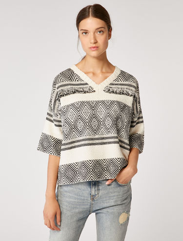 Jacquard sweater with fringe