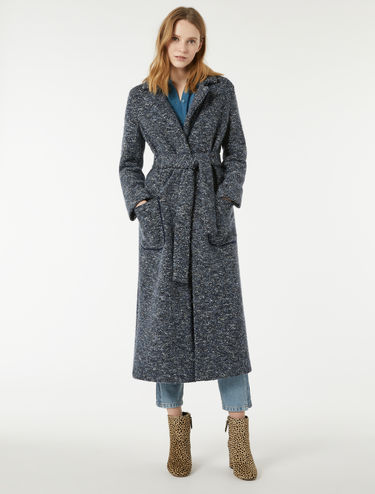 Tweed jersey midi coat
