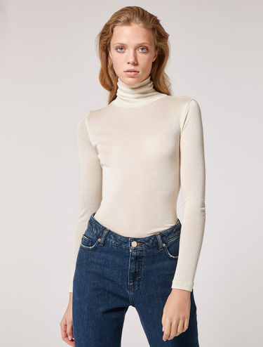 Cashmere/silk jersey turtleneck