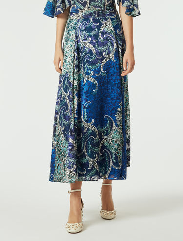 Dévoré satin skirt