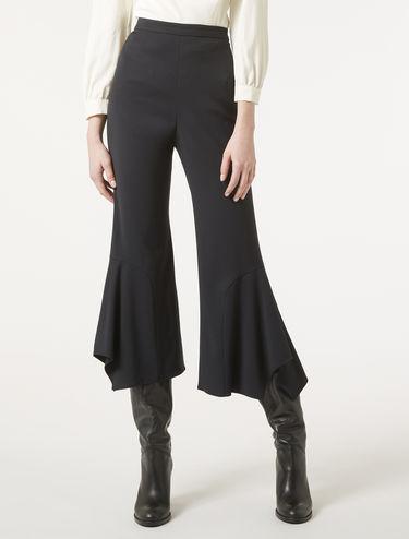 Trousers with foulard hem