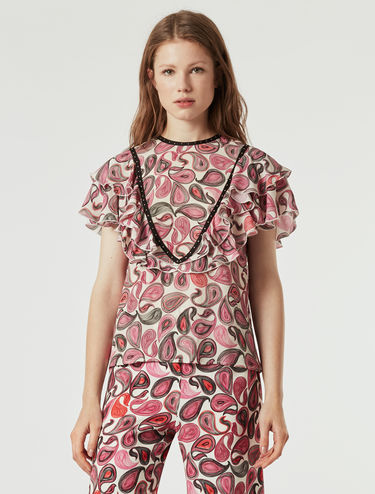 Blouse with flounces and micro-studs