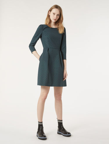 Lamé jacquard corolla dress
