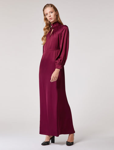 Long, floaty satin dress