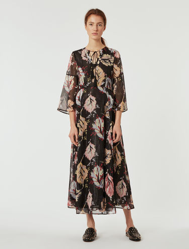 Long lamé silk dress