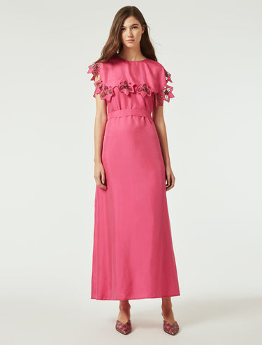 Long dress with floral embroidery