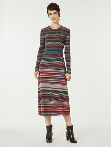 ラメ ニット ミディ ドレス