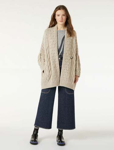 Oversize cable-knit cardigan