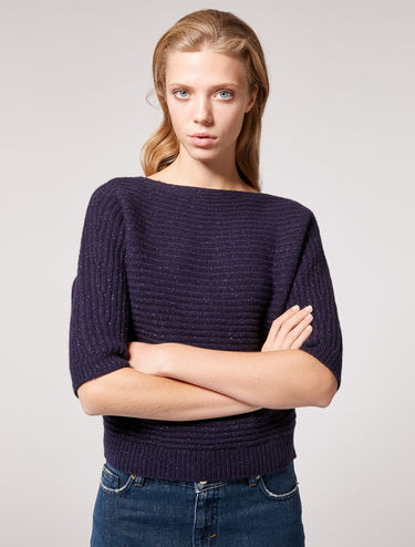 Ribbed sweater with lamé