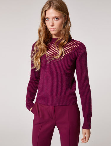 Lamé sweater with ribbing and crochet