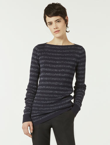 Slim-fit jumper with lamé stripes