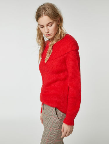 Ring collar mohair sweater