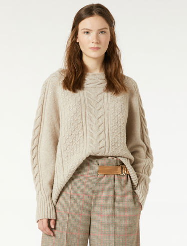Cable-knit sweater with rhinestones