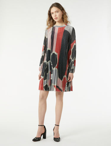Pleated lamé jersey dress