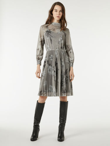 Lamé jersey dress with pleats