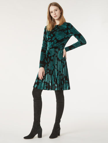 Velvet jersey dress with pleats