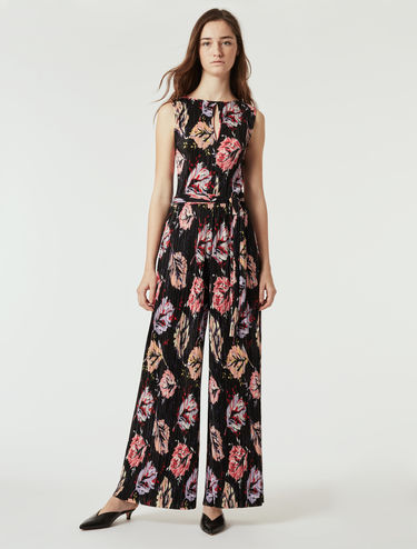 Micro-pleat jersey jumpsuit