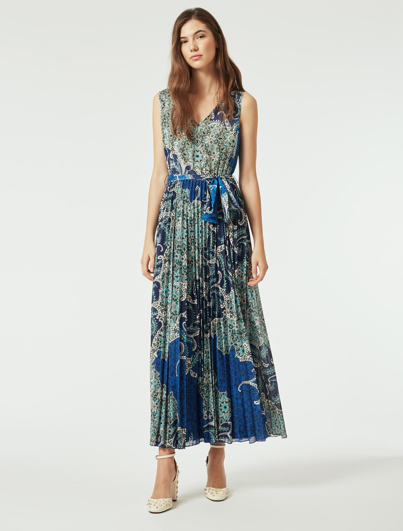 Bedrucktes Kleid aus Jersey und Seide, marinenblaues muster - Max Co. 4db0c7fa8d