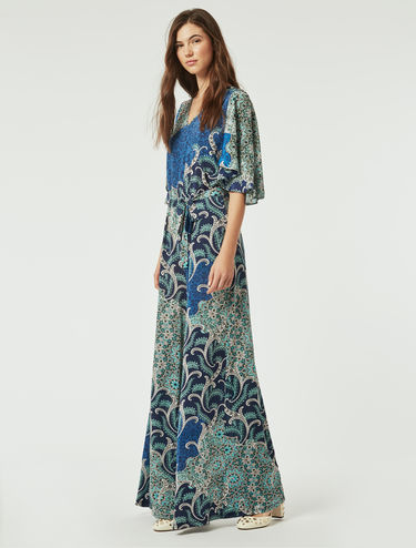 Printed jersey and silk jumpsuit