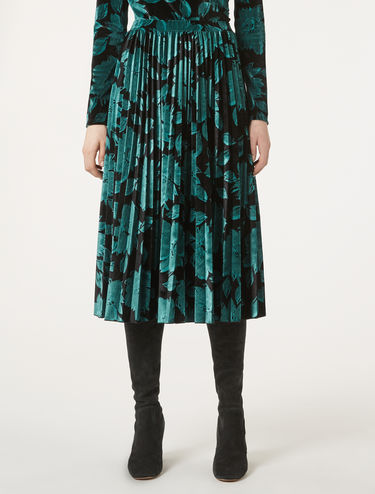 Velvet jersey pleated skirt