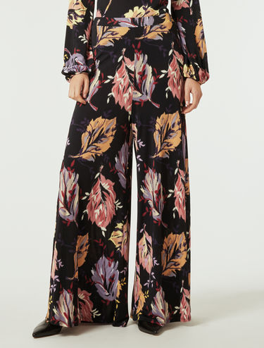 Flowing jersey palazzo trousers