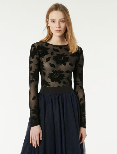 Floral tulle T-shirt