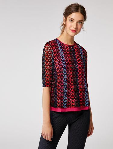 Macramé jersey blouse