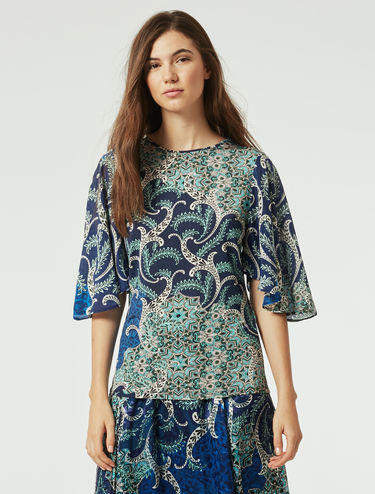 Printed jersey and silk blouse