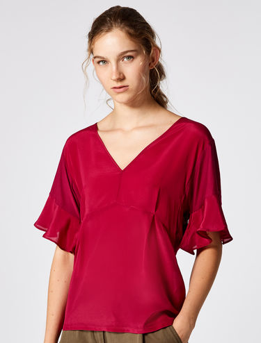 Flowing silk and jersey blouse