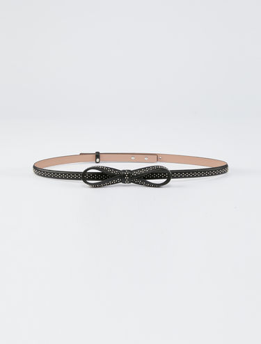 Skinny bow belt with stud detail