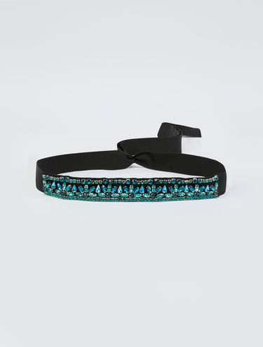 Belt with bijoux embroidery