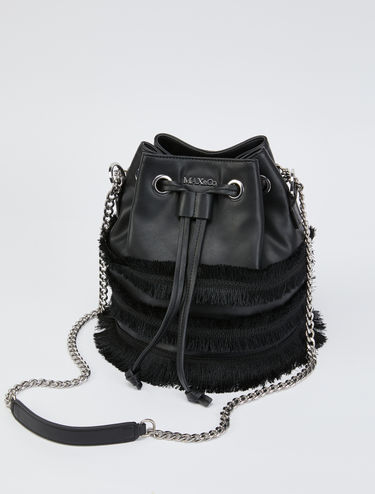 Bucket bag with fringe trim and chain