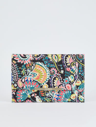 Printed canvas maxi-clutch bag