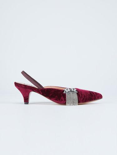 Velvet slingback heels with rhinestones