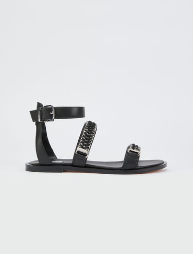 Ultra-flat sandals with chain detail