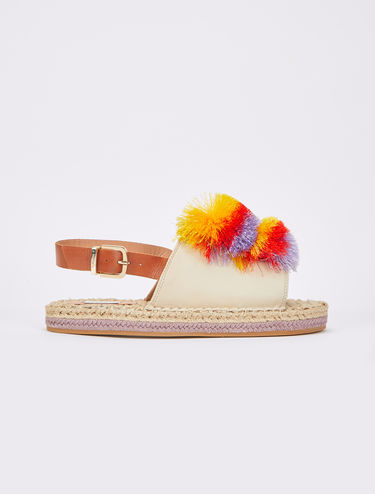 Leather espadrilles with pompons