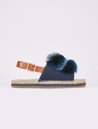 Denim espadrilles with pompons