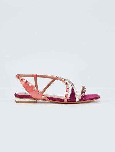 Sandali di raso con strass