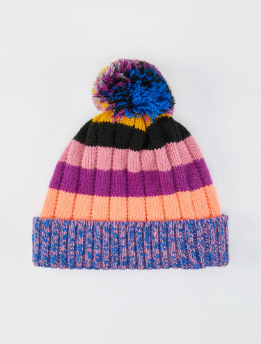 Striped beanie hat with pompom