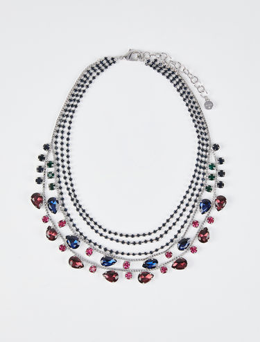Collier strass à rangs multiples