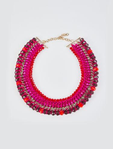Halskette aus Metallkettchen und Textilband