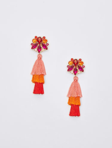 Earrings with tassels and rhinestones