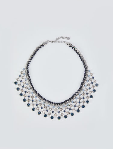 Metallic and rhinestone mesh necklace