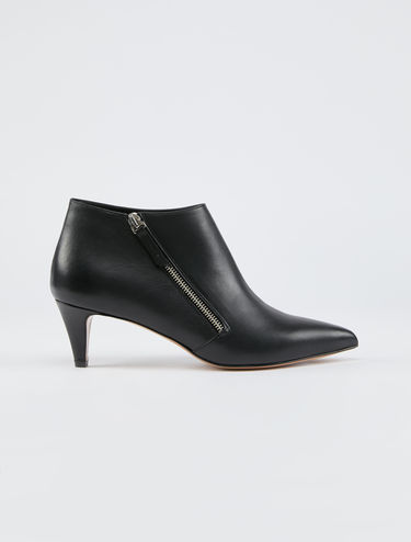 Leather kitten-heel boots