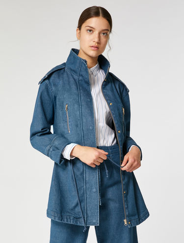 Stretch denim parka