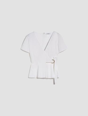Cotton poplin wrap blouse
