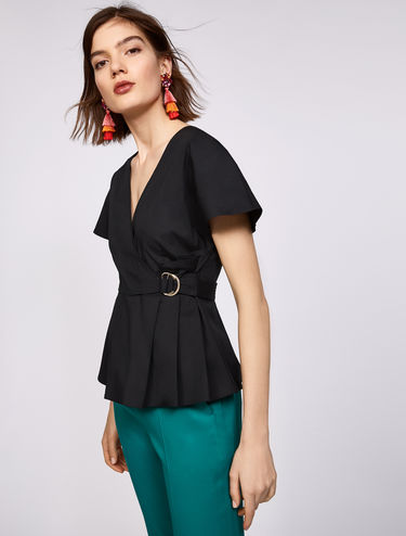 Cotton poplin wrap blouse