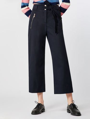 Wide-leg gabardine trousers