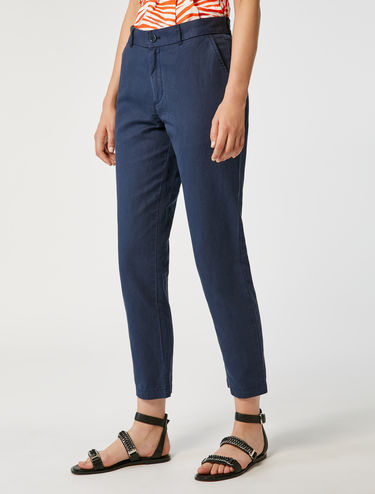 Cotton/linen chino trousers