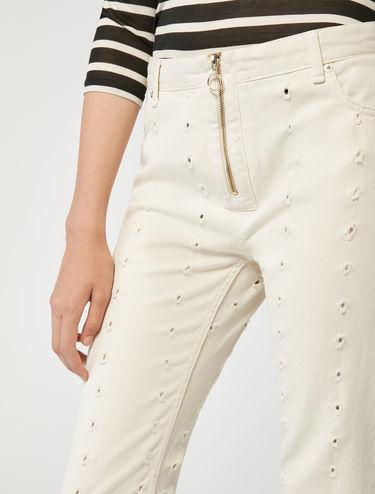 Pantalon en drill effet fil coupé